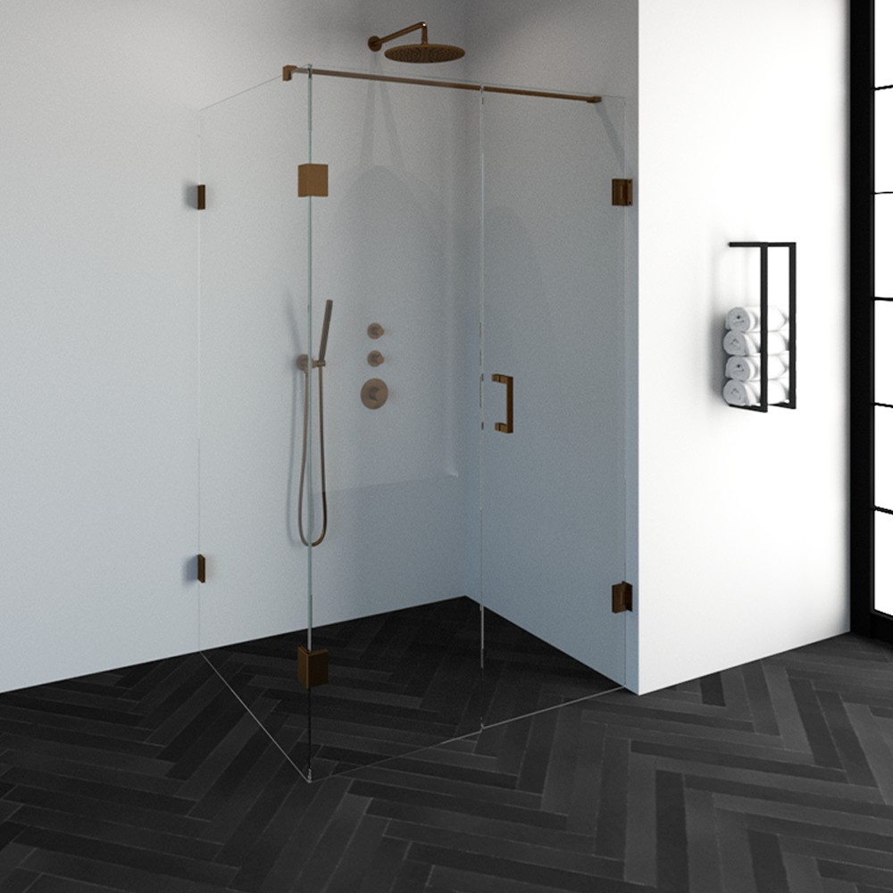 Productafbeelding van Sanituba Complete Profielloze Douchecabine Rechthoek 3-delig 100x120cm koper