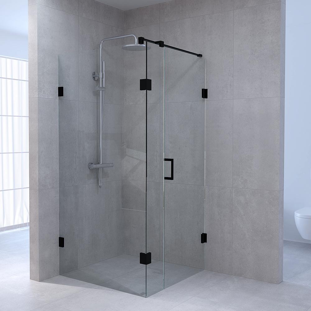 Productafbeelding van Sanituba Complete Profielloze Douchecabine Vierkant 3-delig 100x100 cm Zwart Mat