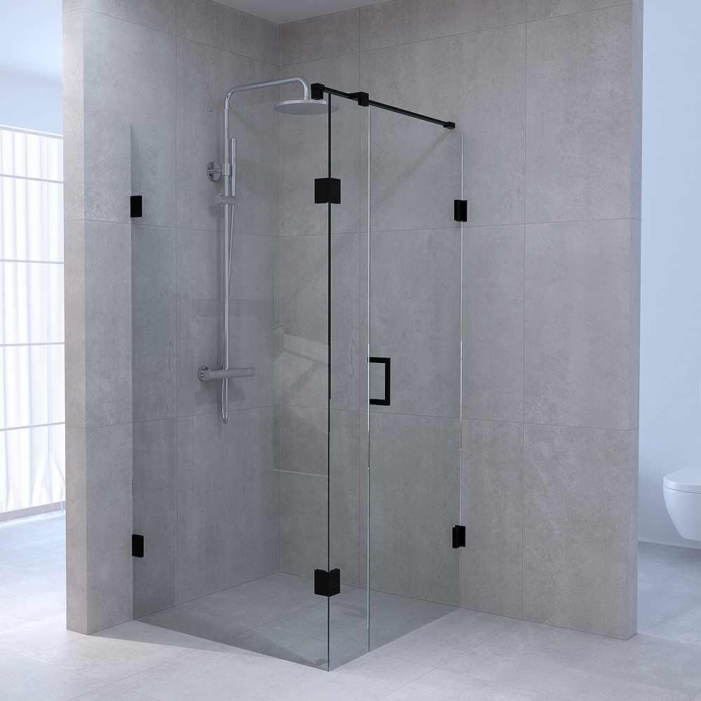 Productafbeelding van Sanituba Complete Profielloze Douchecabine Vierkant 3-delig dd 100x100 cm Zwart Mat