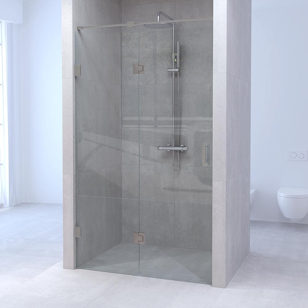 Sanituba Complete Profielloze Nisdeur 2-delig 180 cm Geborsteld RVS