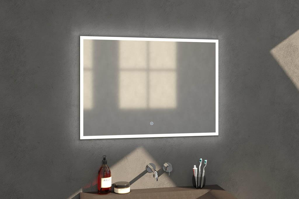 Sanituba Edge spiegel 100×70 met LED verlichting Aluminium Geborsteld kopen doe je het voordeligst hier
