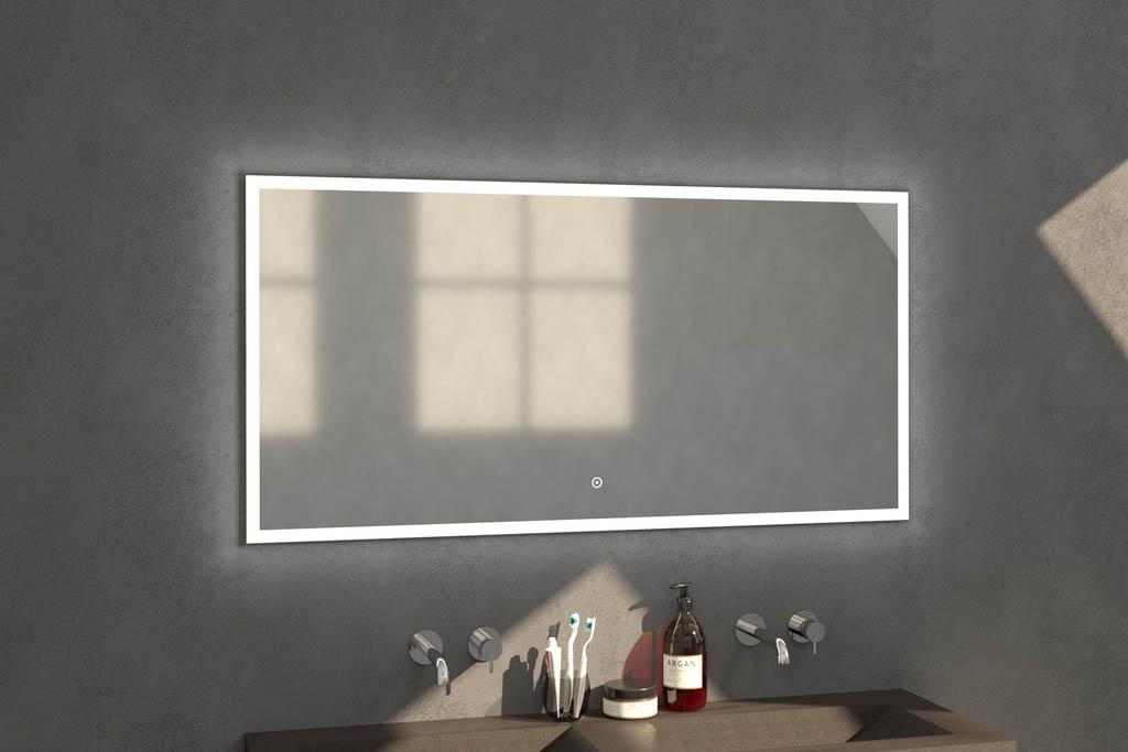 Sanituba Edge spiegel 140×70 met LED verlichting Aluminium Geborsteld kopen doe je het voordeligst hier