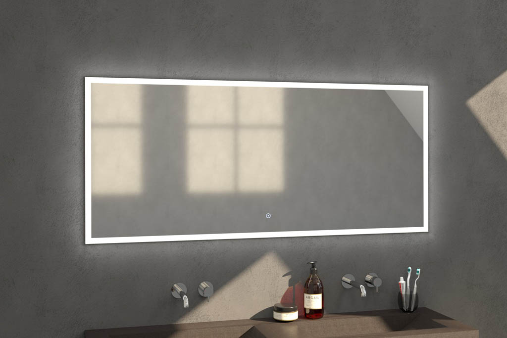Sanituba Edge spiegel 160×70 met LED verlichting Aluminium Geborsteld kopen doe je het voordeligst hier
