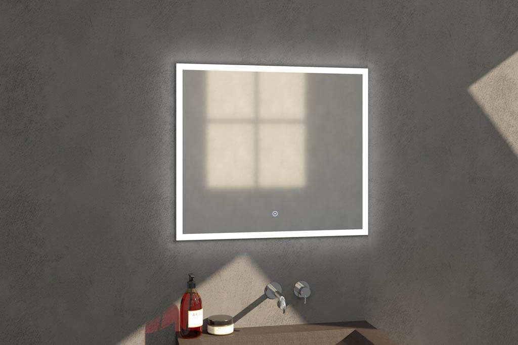 Sanituba Edge spiegel 80×70 met LED verlichting Aluminium Geborsteld kopen doe je het voordeligst hier