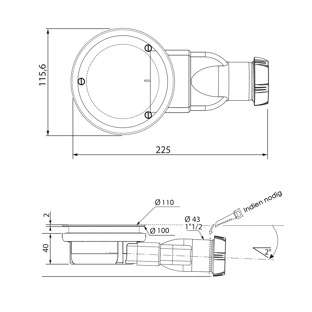 Sanituba Relievo extra ondiepe sifon �90 mm