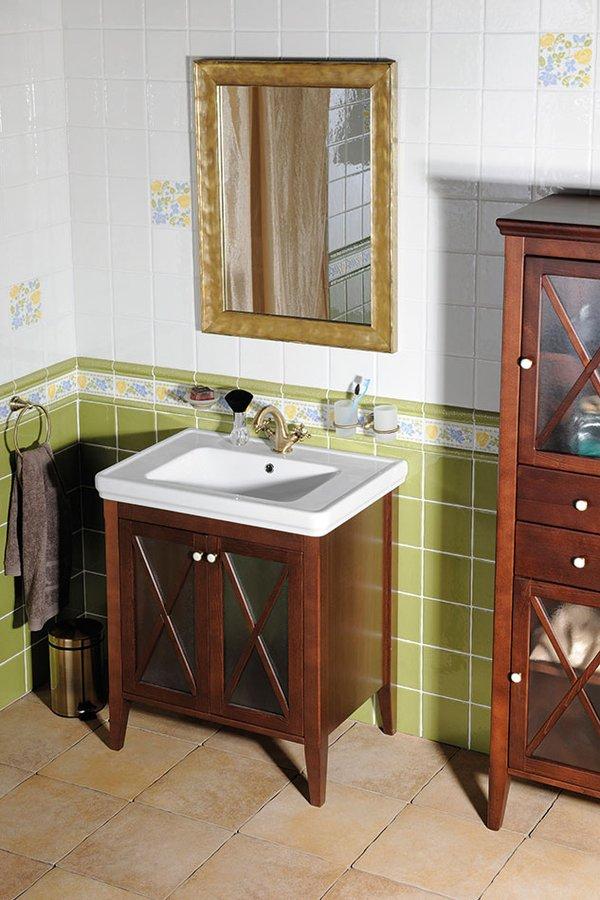 Sapho Cross landelijk badmeubel met wastafel 75cm mahonie