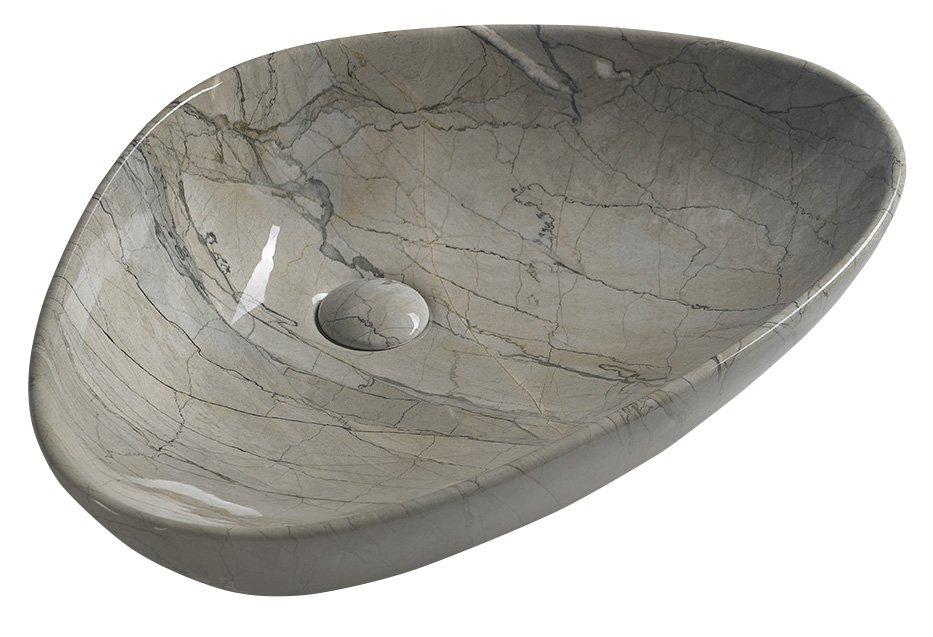 Sapho Dalma keramische waskom grijs marmer structuur 58x39x14cm