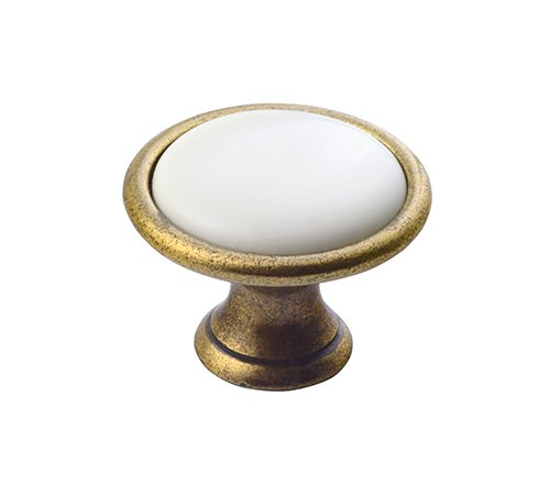 Sapho deurknop brons met witte binnenzijde 30mm
