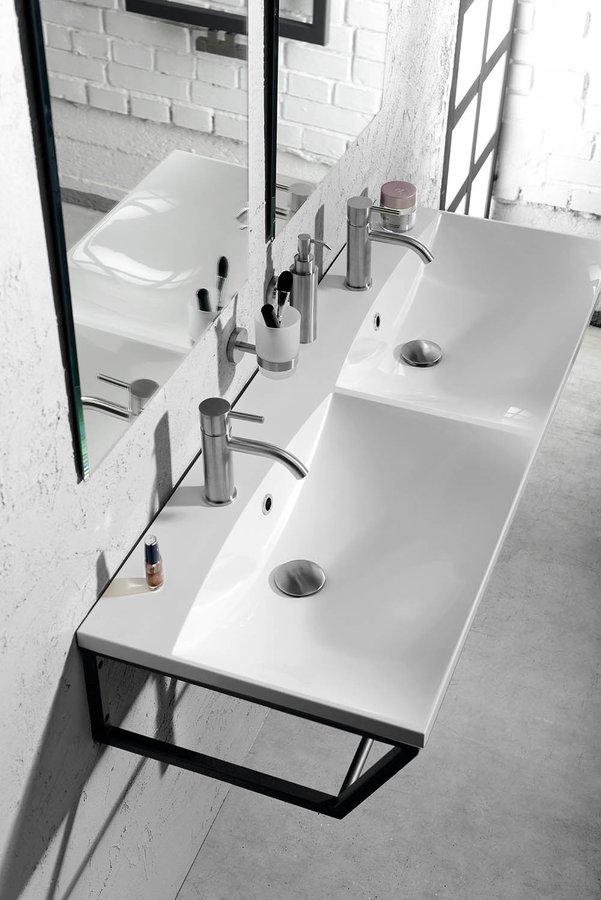 Sapho Industrial badmeubel met zwart frame 120cm 2 kraangaten