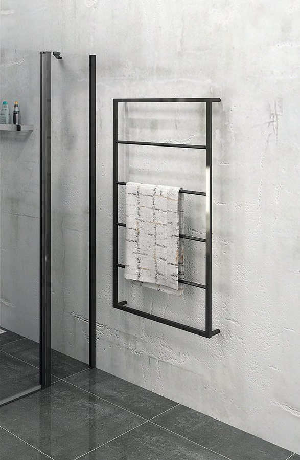 Sapho Industrial handdoek rek hangend 115x60cm mat zwart