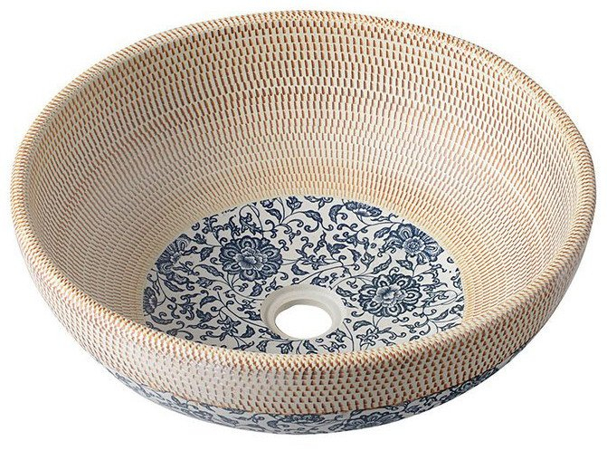 Sapho Plata keramische decoratie waskom 42cm beige met blauwe details