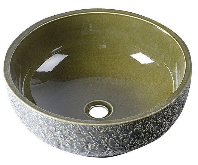 Sapho Plata keramische decoratie waskom 43cm olijf groen