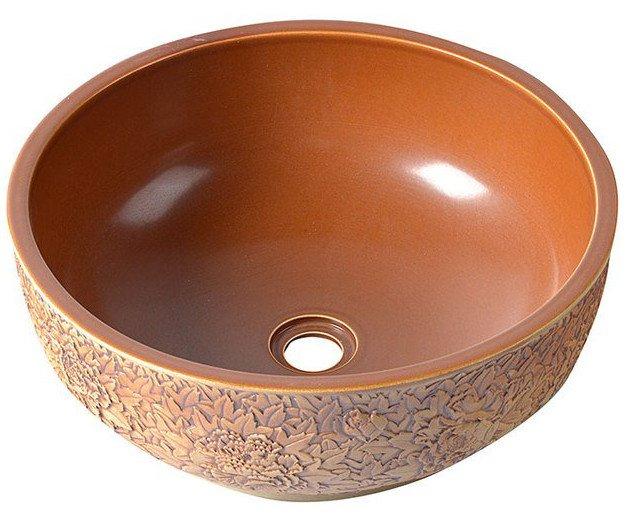 Sapho Plata keramische decoratie waskom 43cm roodbruin