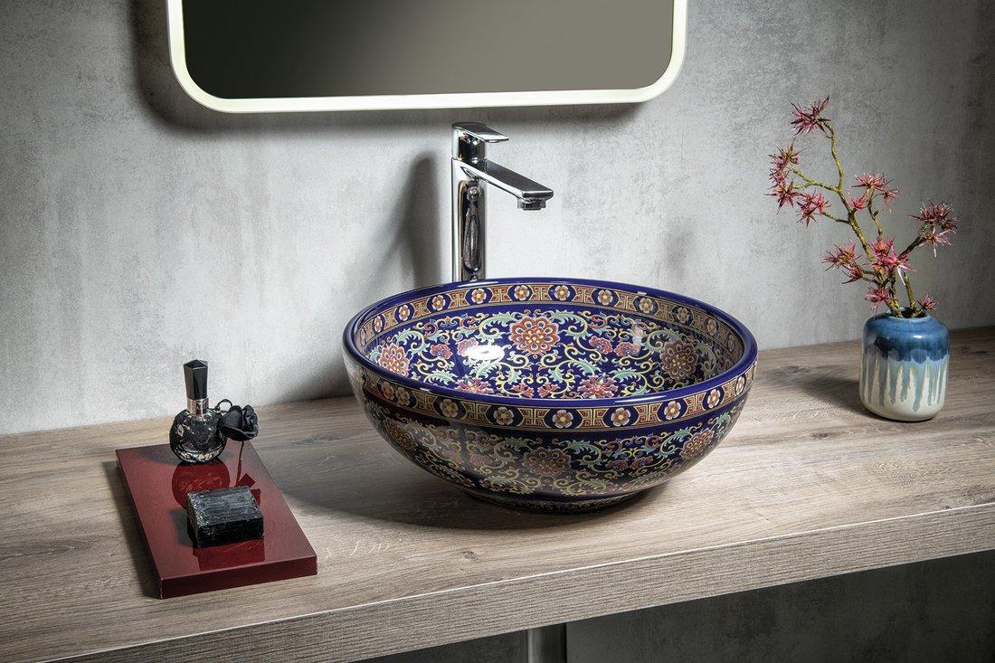 Sapho Priori keramische ronde waskom 40cm paars met ornamenten