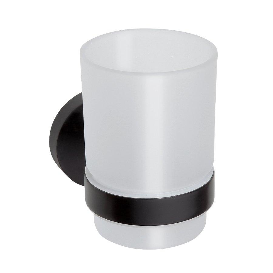Sapho X-Round glashouder met glas zwart