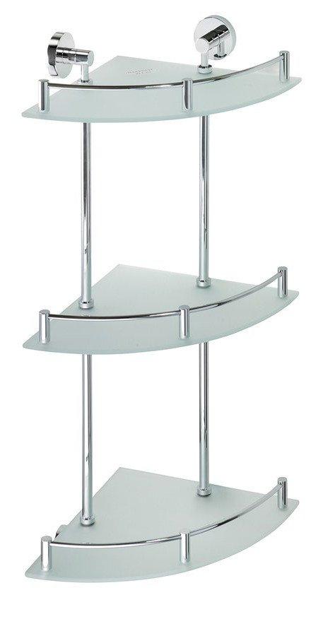 Sapho X-Round glazen hoekplanchet met rail 3 laags chroom