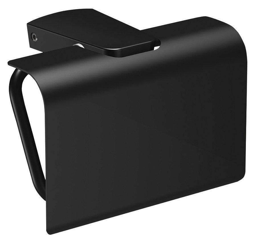 Sapho Zen Black zwarte toiletrol houder met klep
