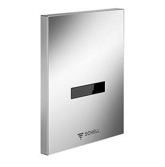 Schell Edition E urinoirsturing kunststof 230V 50Hz elektrisch en frontplaat m. infrarood sensor chroom