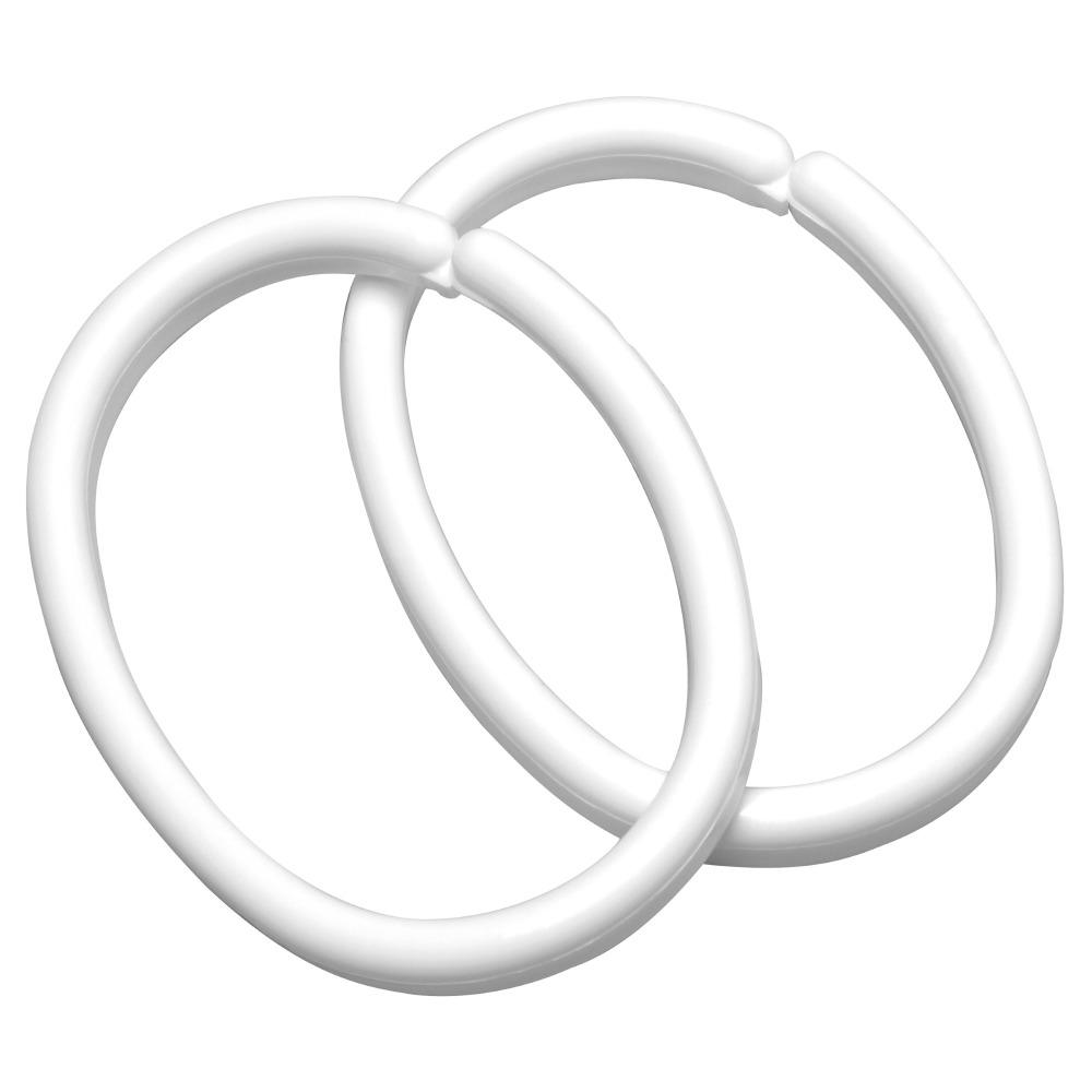 12 douchegordijn ringen clips
