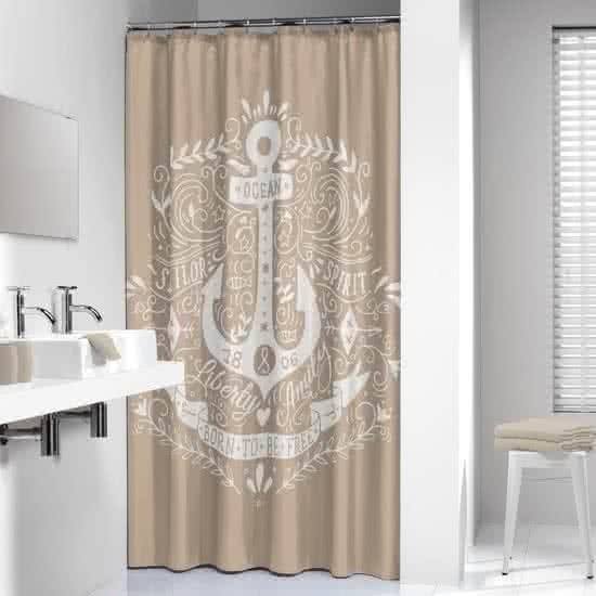 Sealskin douchegordijn Anchor 100% polyester zand print 180x200 cm