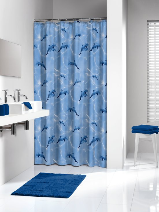 Sealskin douchegordijn Delfino PEVA blauw print 180x200 cm