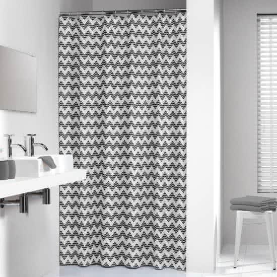 Sealskin douchegordijn Motif 100% polyester zwart print 180x200 cm