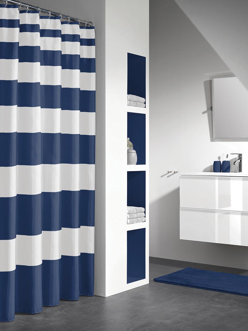 Sealskin douchegordijn Nautica 100% polyester blauw print 180x200 cm