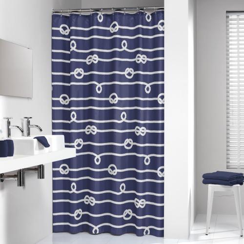 Sealskin douchegordijn Rope 100% polyester blauw print 180x200 cm