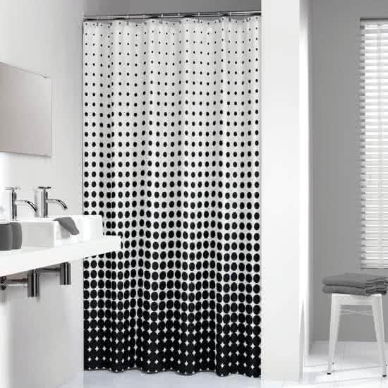 Sealskin douchegordijn Speckles polyester zwart print 180x200 cm