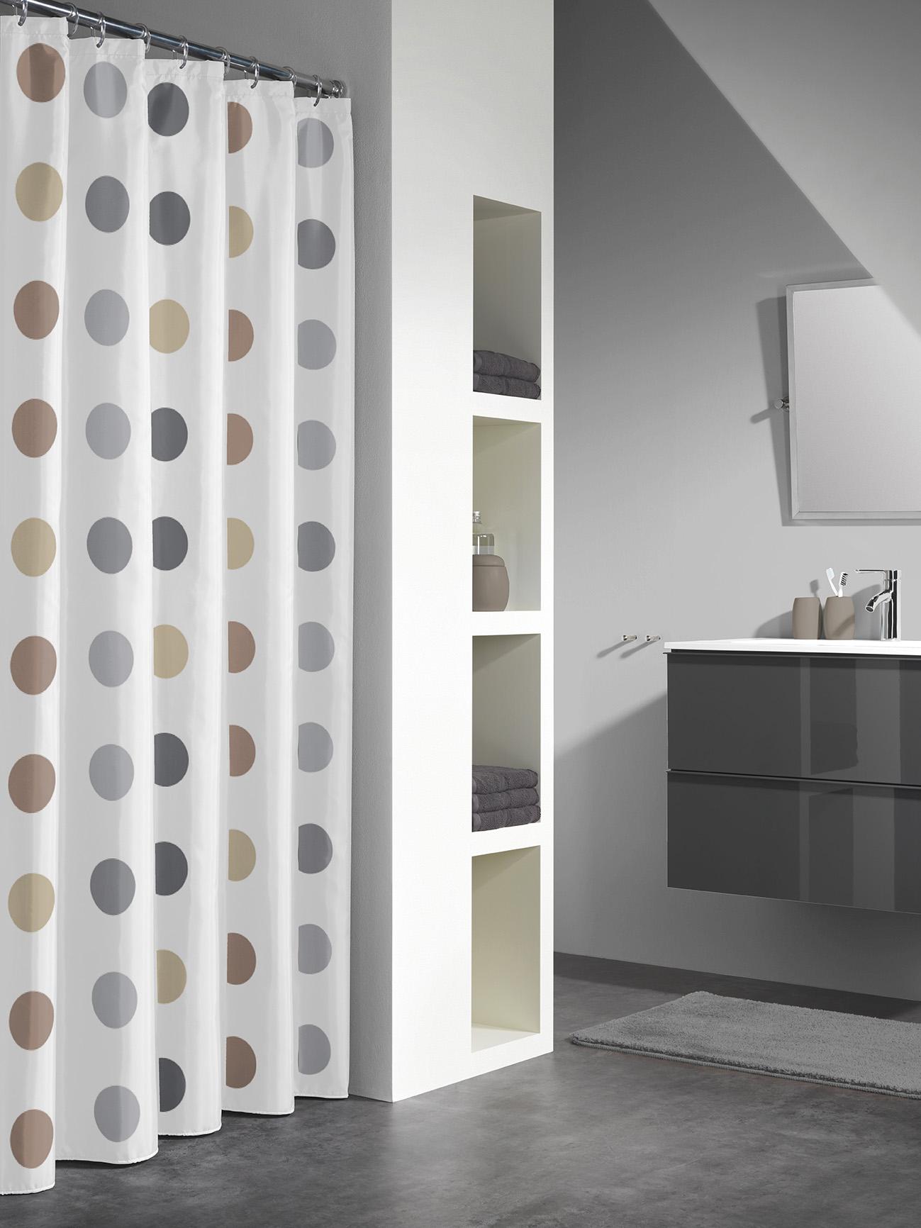 Sealskin douchegordijn Twister 100% polyester taupe print 180x200 cm