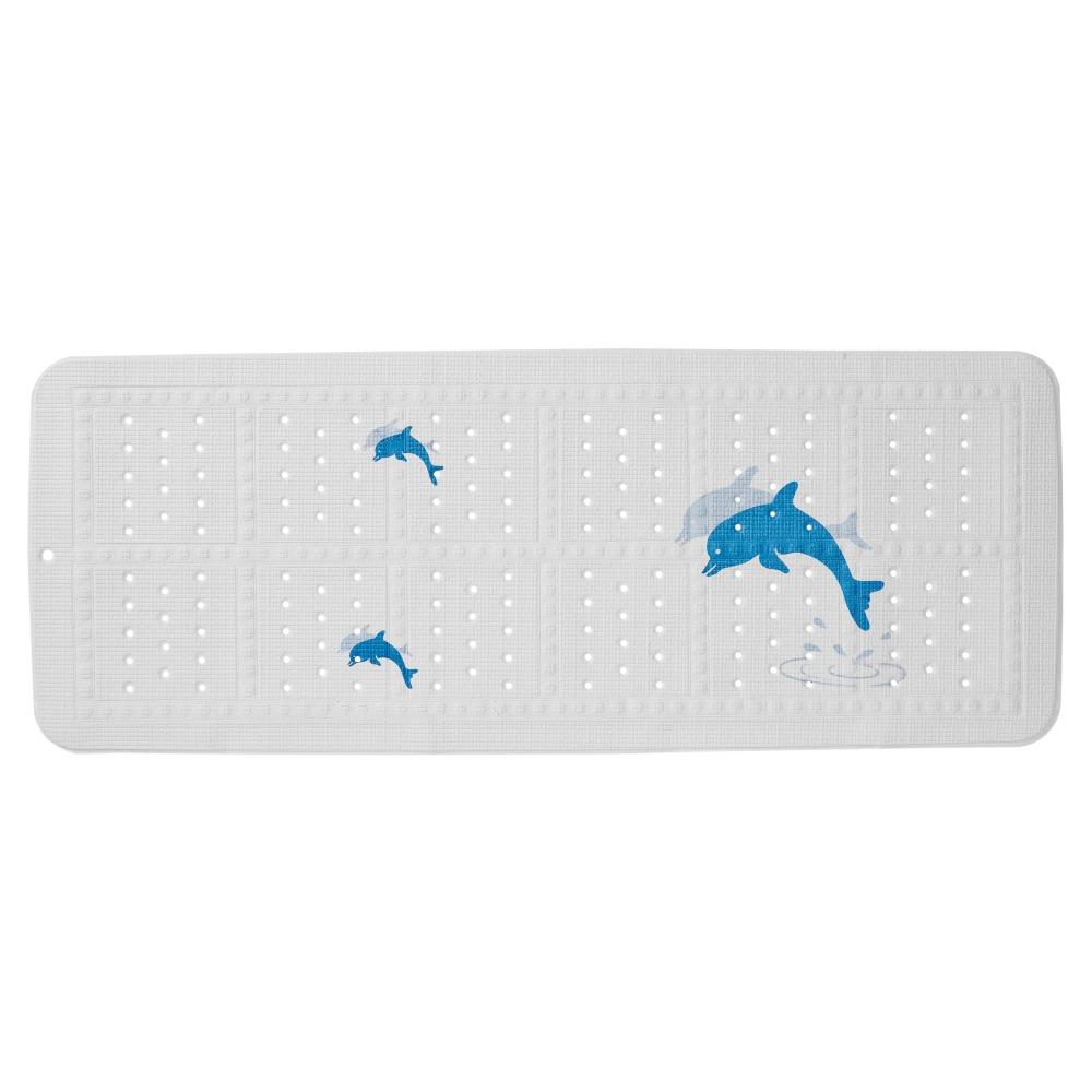 Sealskin Montreal veiligheidsmat pvc 92x36cm wit blauw dolfijntjes design