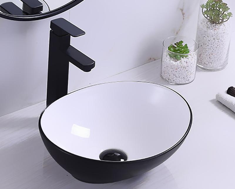 Productafbeelding van Saniclear Queen waskom 40x33cm wastafel wit mat zwarte buitenkant