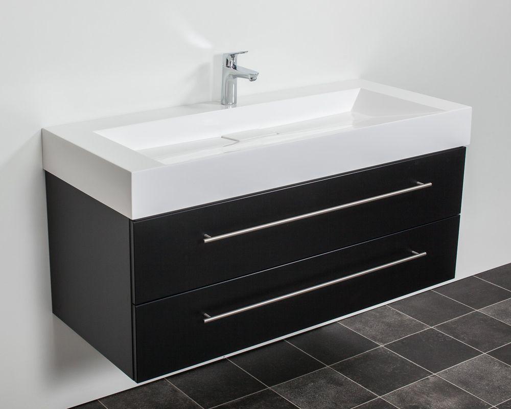 Badkamer accessoires saniclear design wastafelmeubel 120cm 1 kraan zijdeglans zwart - Water badkamer model ...