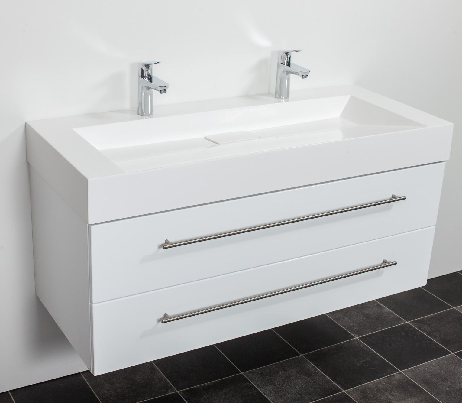 Saniclear Design wastafelmeubel 120cm 2 kranen hoogglans wit