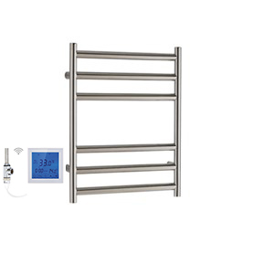 SSI Design Athena elektrische radiator met witte digitale thermostaat RVS gepolijst 43x35cm 150W