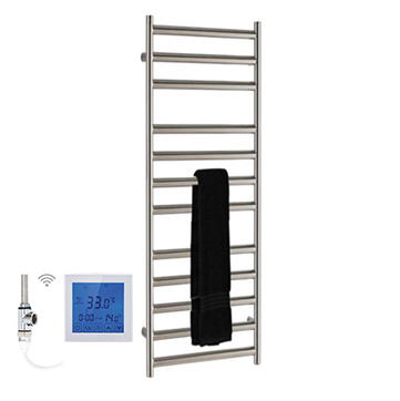 SSI Design Athena elektrische radiator met witte digitale thermostaat RVS gepolijst 60x35cm 150W