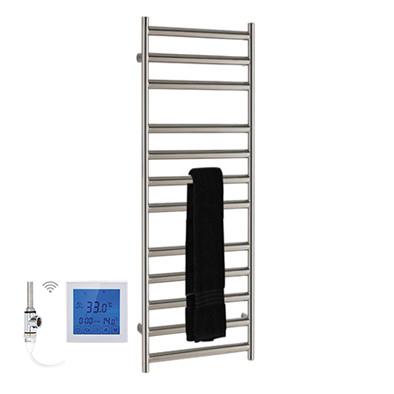 SSI Design Athena elektrische radiator met witte digitale thermostaat RVS gepolijst 80x35cm 150W