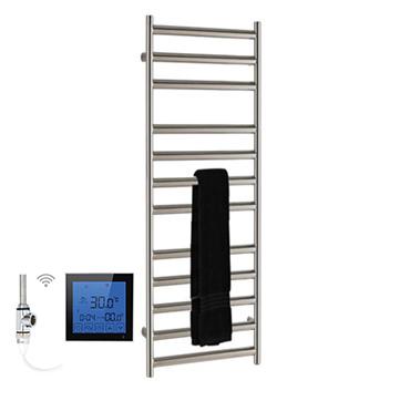SSI Design Athena elektrische radiator met zwarte digitale thermostaat RVS geborsteld 60x35cm 150W