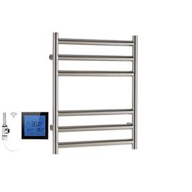 SSI Design Athena elektrische radiator met zwarte digitale thermostaat RVS gepolijst 43x35cm 150W