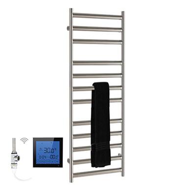SSI Design Athena elektrische radiator met zwarte digitale thermostaat RVS gepolijst 80x35cm 150W