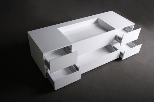SSI Design Luton badkamermeubel Solid Surface 145x50x40cm