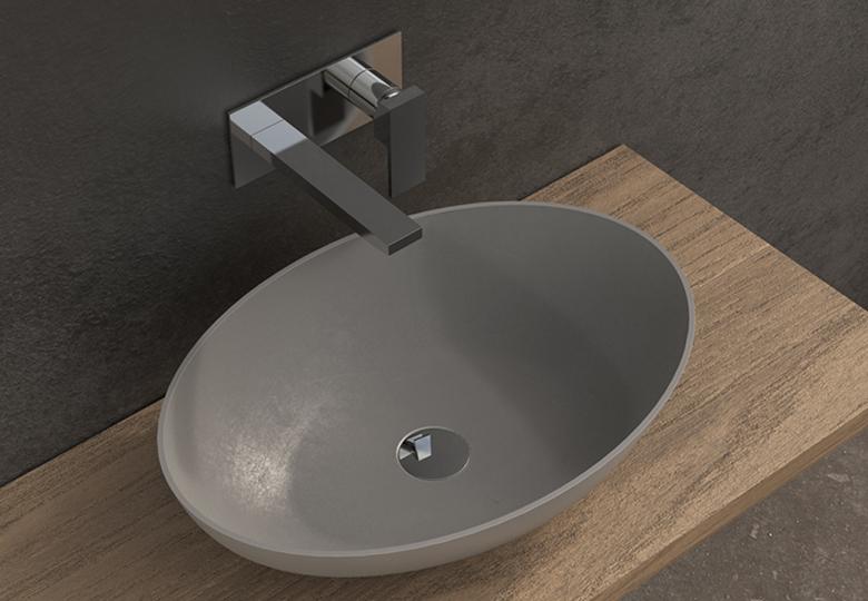 SSI Design Solid Thin ovale waskom 60x40x14,5cm lichtgrijs