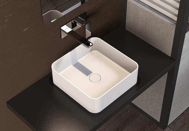 SSI Design Solid Thin waskom vierkant 40x40x12,5cm mat wit
