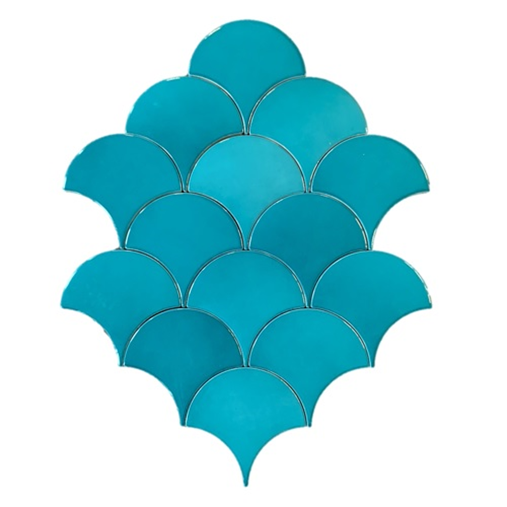 Terre d'Azur Hawaiian visschub tegels - mermaid tegels turquoise 12,5x6.3cm