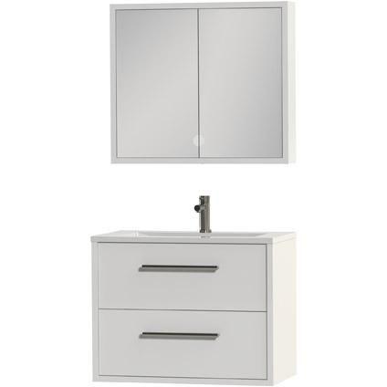 Tiger Boston badmeubel met spiegelkast en witte wastafel 80cm wit