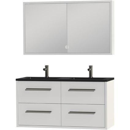Tiger Boston badmeubel met spiegelkast en zwarte wastafel 120cm wit