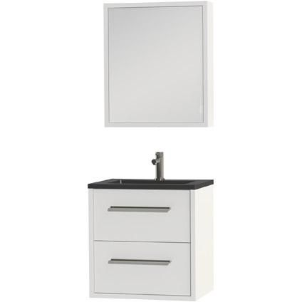 Tiger Boston badmeubel met spiegelkast en zwarte wastafel 60cm wit