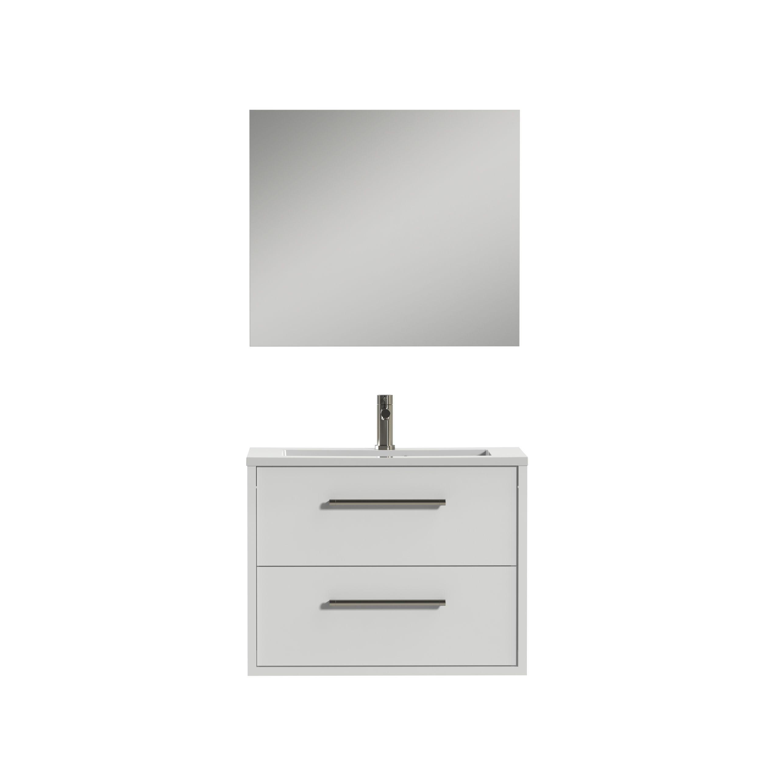 Tiger Boston badmeubelset incl spiegel en witte wastafel 80cm wit