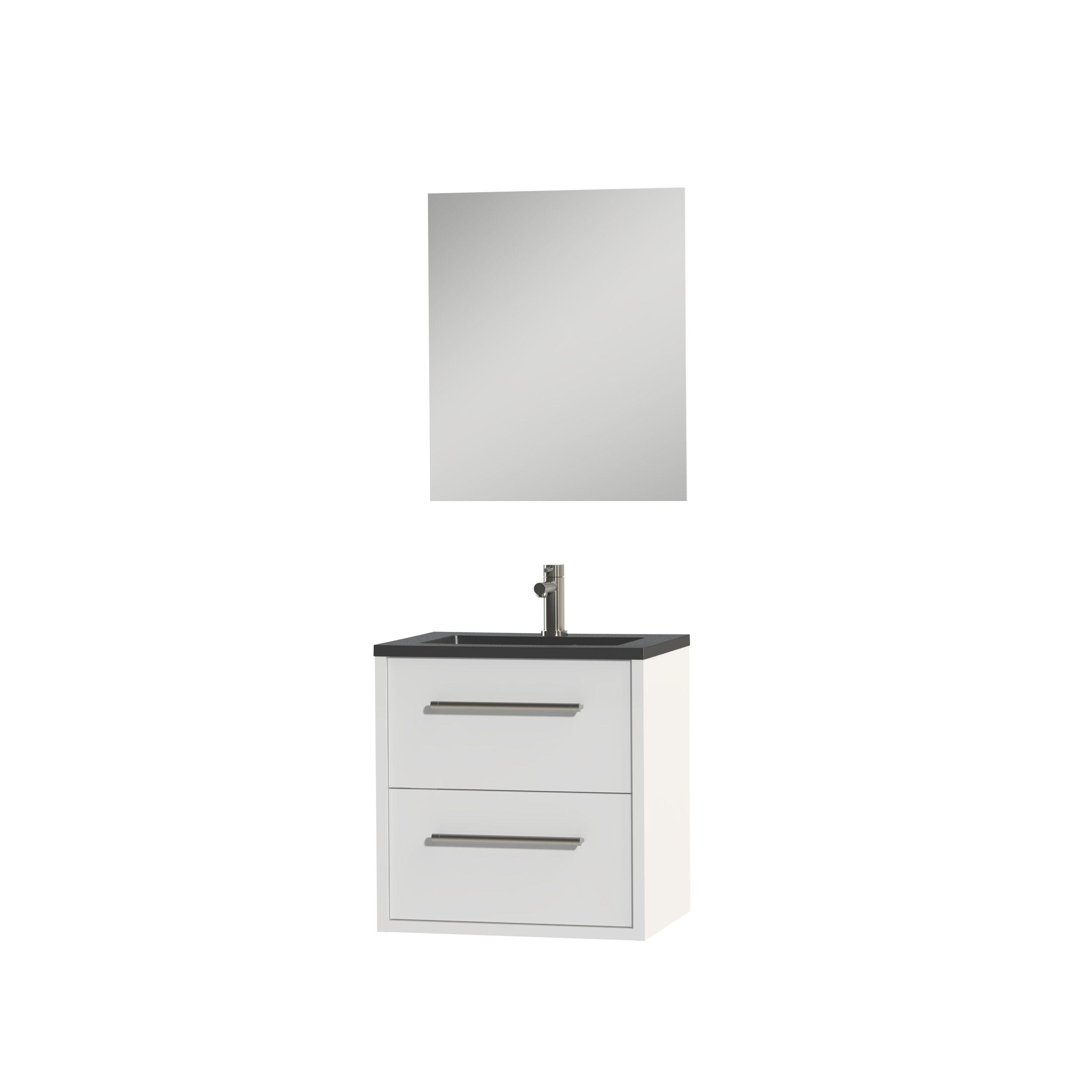 Tiger Boston badmeubelset incl spiegel en zwarte wastafel 60cm wit