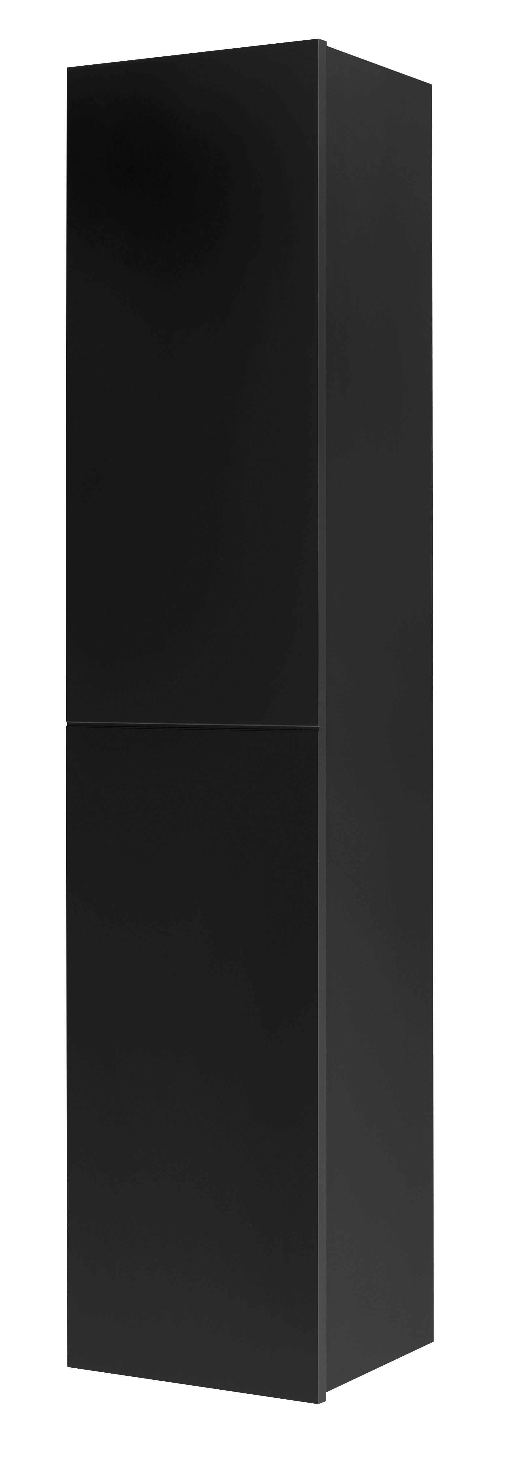 Tiger Items kolomkast met deur en 2 lades 160 cm hoog zwart hoogglans
